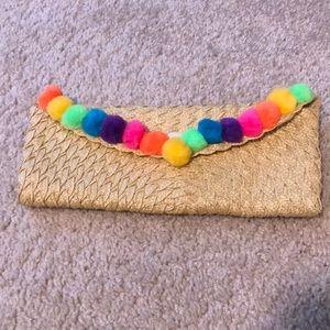 Handbags - Straw Pom Pom Clutch Bag